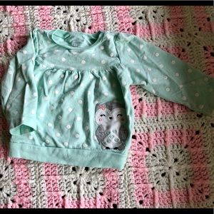 Carter's turquoise long sleeve top, size 12mo